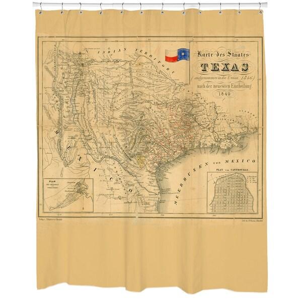 Texas 1849 Map Shower Curtain