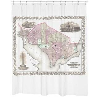 Washington DC 1855 Map Shower Curtain