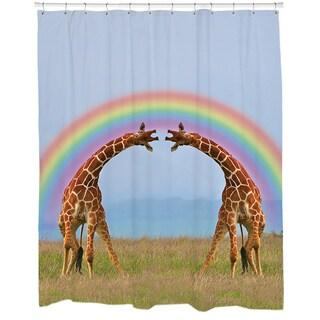 Giraffe Double Rainbow Shower Curtain