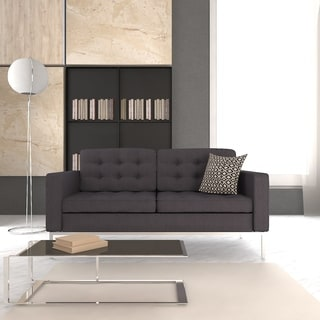 LeisureMod Lorane Modern Dark Grey Wool Button-tufted Studio Sofa