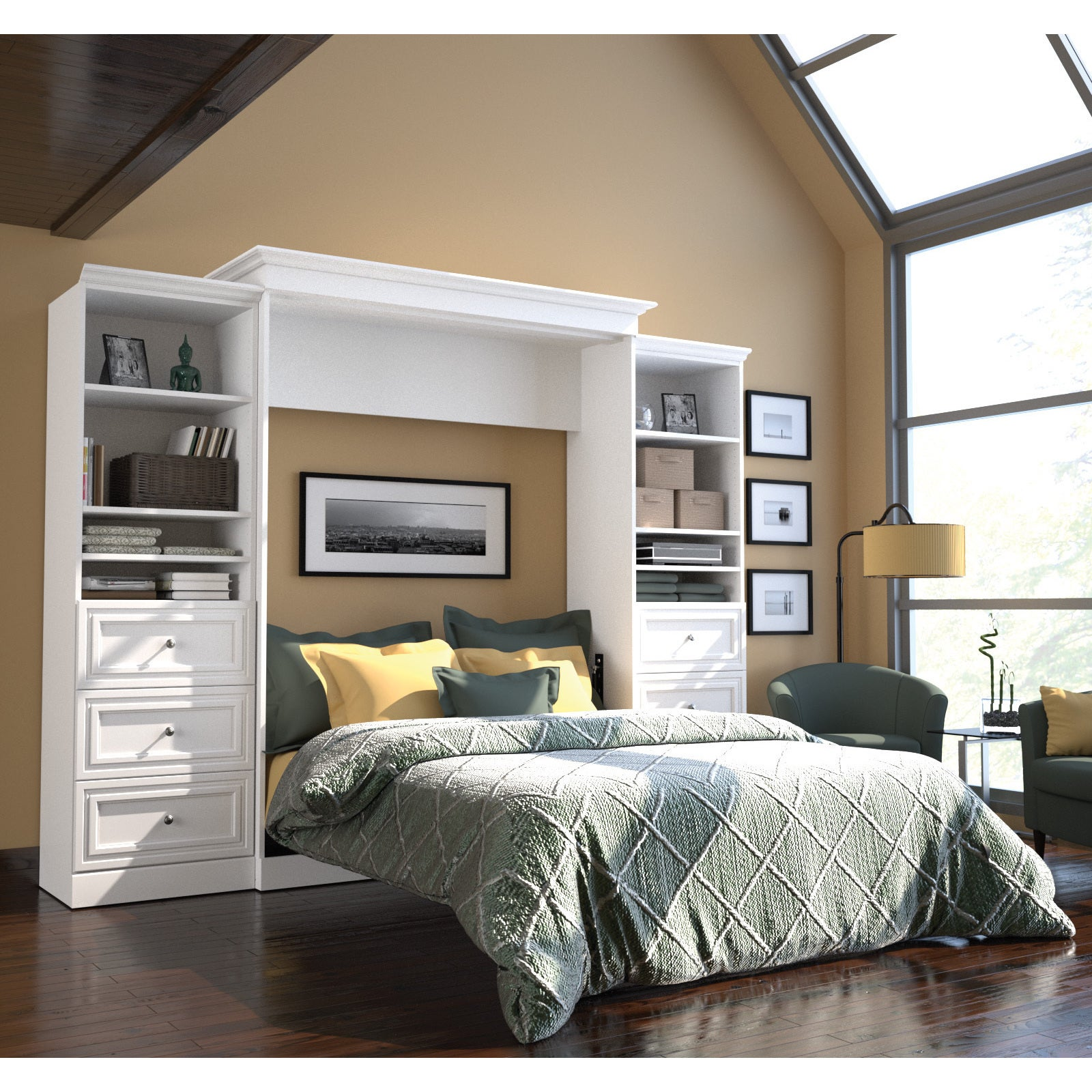 Versatile by Bestar 115-inch Queen-size Wall Bed Set (Whi...