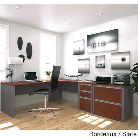 Bestar Connexion L-shaped Workstation with Lateral File