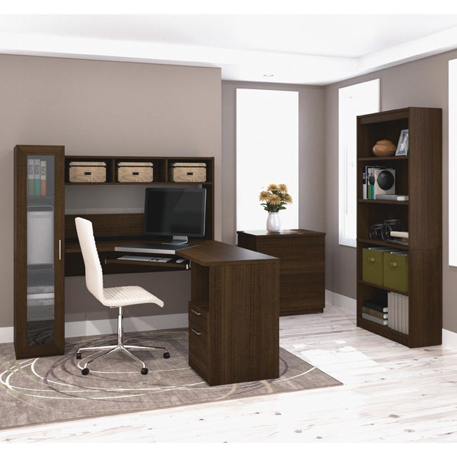 Bestar Jazz Corner Workstation with Lateral File and Book...