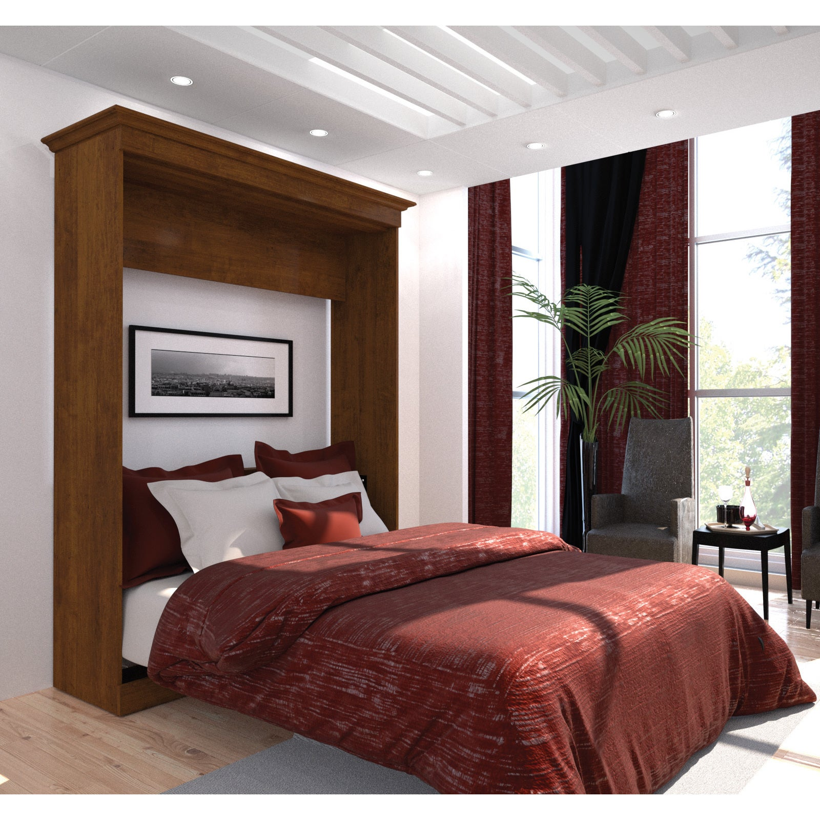 Versatile by Bestar 69-inch Queen-size Wall Bed (Brown)