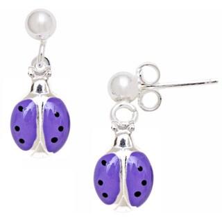 Pori Sterling Silver Children's Purple Enamel Ladybug Earrings