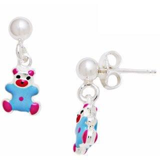 Pori Sterling Silver Children's Light Blue Enamel Bear Dangle Earrings