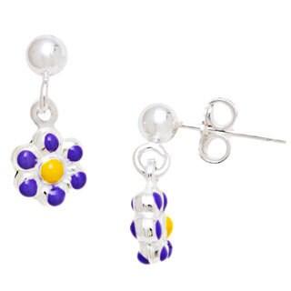 Pori Sterling Silver Children's Purple/ Yellow Enamel Flower Dangle Earrings