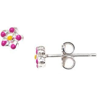 Pori Sterling Silver Children's Pink/ Yellow Enamel Flower Stud Earrings