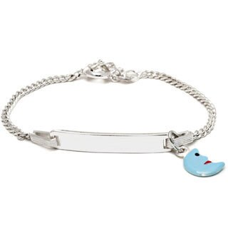 Pori Sterling Silver Children's Light Blue Enamel Half Moon Charm ID Bracelet
