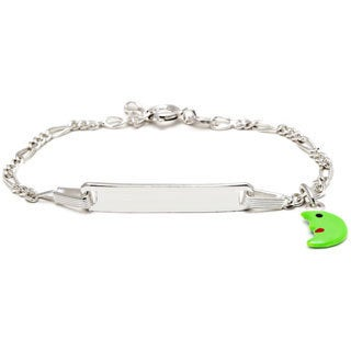 Pori Sterling Silver Children's Bright Green Enamel Half Moon Charm ID Bracelet