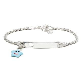 Pori Sterling Silver Children's Light Blue Enamel Star Charm ID Bracelet