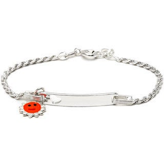 Pori Sterling Silver Children's Orange Enamel Sun Charm ID Bracelet