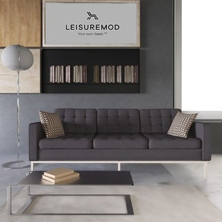 LeisureMod Lorane Modern Dark Grey Button-tufted Wool Fabric Sofa