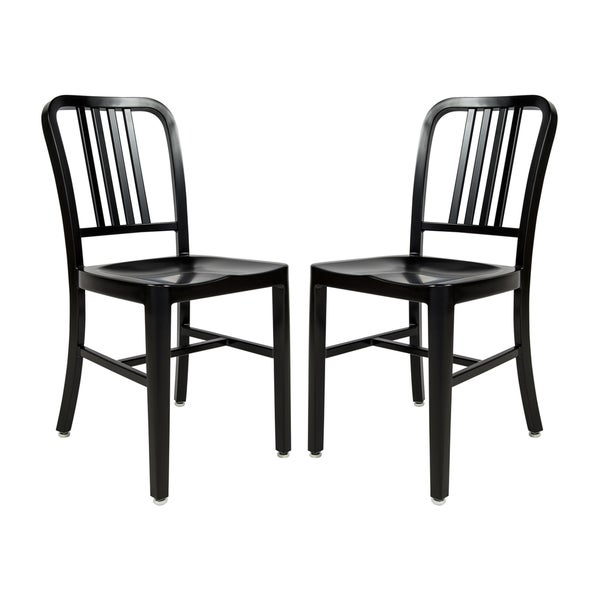 LeisureMod Alton Black Modern Dining Chair Set Of 2