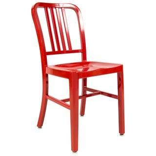 LeisureMod Alton Red Modern Aluminum Dining Side Chair