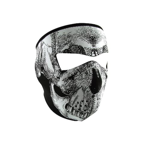 Zan Headgear Full Mask Glow in the Dark Black/ White Skull Face