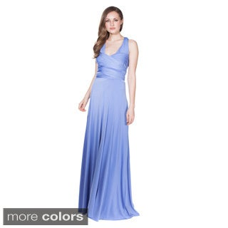 Women's Long Maxi Dress Convertible Wrap Cocktail Gown Bridesmaid Multi Way Dresses One Size Fits 0-12 (Option: Brown)