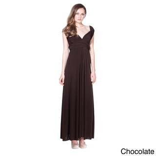 Women's Long Maxi Dress Convertible Wrap Cocktail Gown Bridesmaid Multi Way Dresses One Size Fits 0- (Option: Brown)