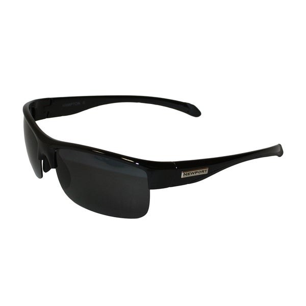 Newport Hampton II Shiny Black Frame Grey Polarized Lenses