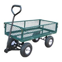 Green Pneumatic Rubber Wheeled Garden Cart