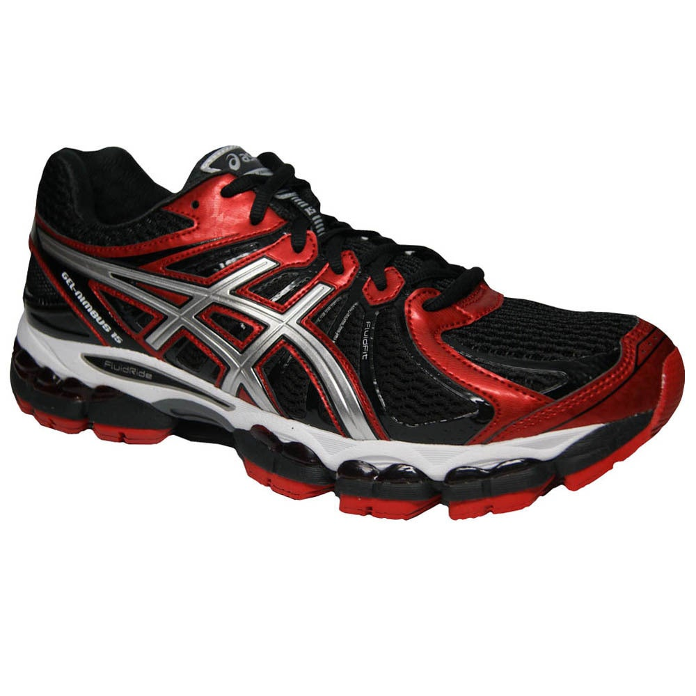 Asics Men's 'Gel Nimbus 15' Black Red Silver Running Shoes