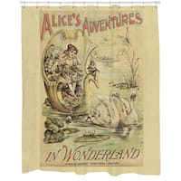 Alice in Wonderland Printed Shower Curtain - Beige