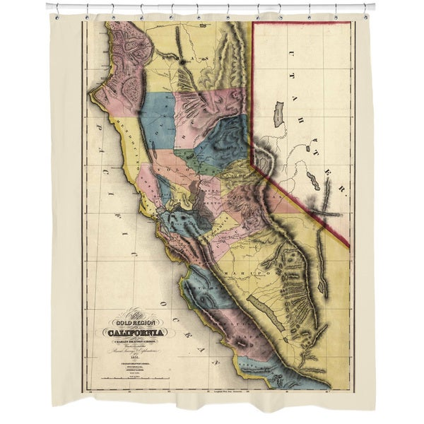 1851 California Map Shower Curtain
