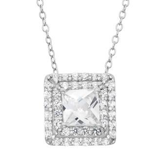 Gioelli Sterling Silver Created White Sapphire Square Pendant Necklace
