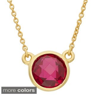 Gioelli Gold Plated Sterling Silver 8mm Checkerboard Gemstone Necklace