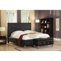 Faux Leather Black Upholstered Bed