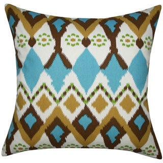 Handmade Multicolored Ikat Toss Pillow (India)
