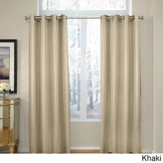 Grand Luxe Madison Linen Chenille Grommet Top Curtain Panel
