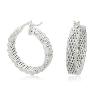 Gioelli Sterling Silver High Polished Designer Weave Hoop Earrings