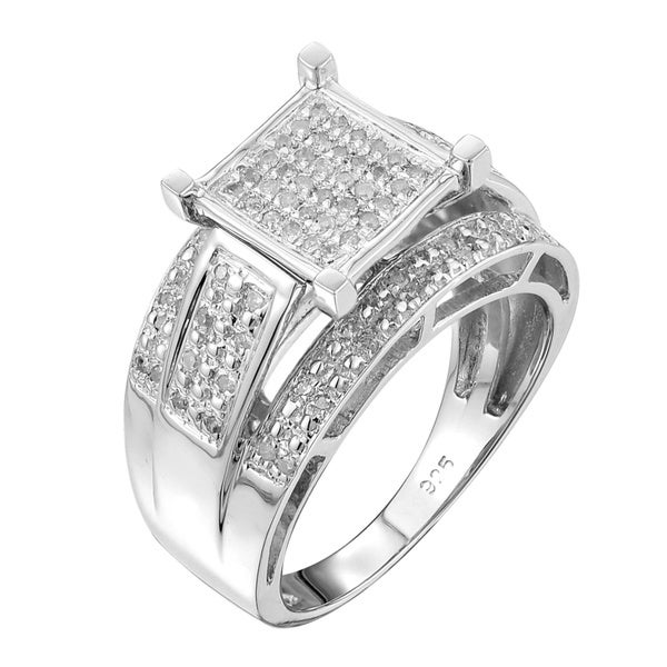 Sterling Silver 1/3ct TDW Square-set Paved Diamond Ring