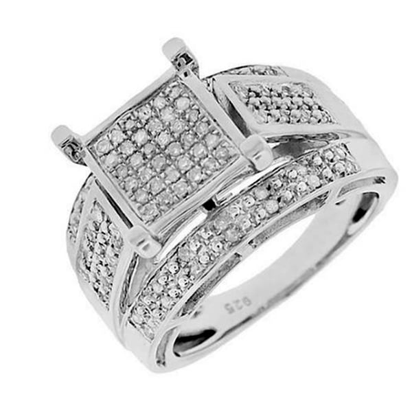 Sterling Silver 1/3ct TDW Square-set Paved Diamond Ring - White G-H