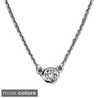 Diamonds For A Cure 14k White Gold 1/6ct TDW Bezel Solitaire Diamond Necklace (H-I, SI1-SI2)