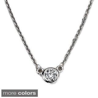 Neda Behnam 14k White Gold 1/6ct TDW Bezel Solitaire Diamond Necklace
