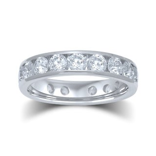 Unending Love 14k White Gold 3ct TDW Certified Diamond Channel-set Eternity Band