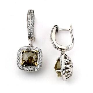 Neda Behnam 18k White Gold 4 3/4ct TDW Rough Green and White Diamond Earrings