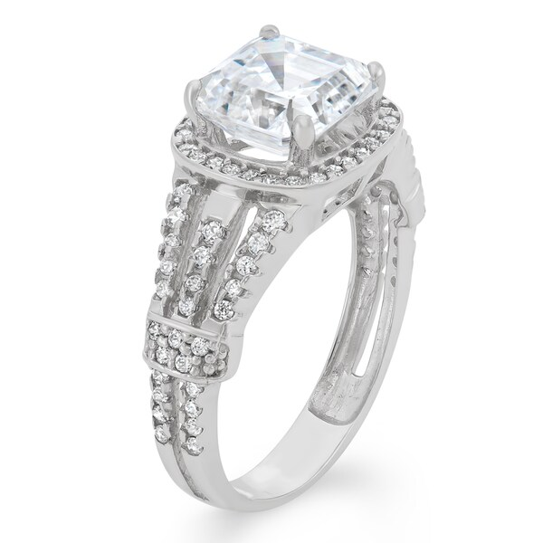 Solitaire Engagement Ring 8mm 10ct White Gold 2 ct CZ