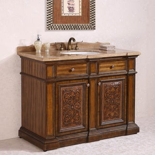 Travertine Top Single Sink Bathroom Vanity in Light Walnut Finish