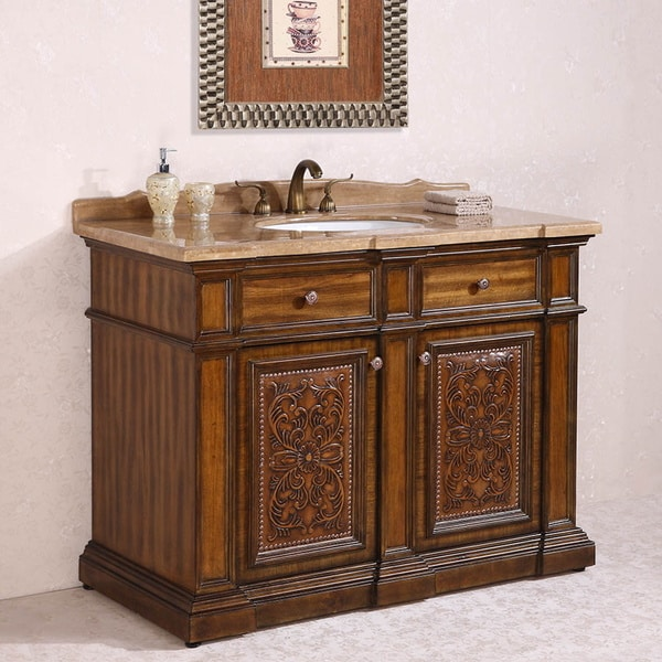 Travertine Top Single Sink Bathroom Vanity In Light Walnut Finish Free Shipping Today