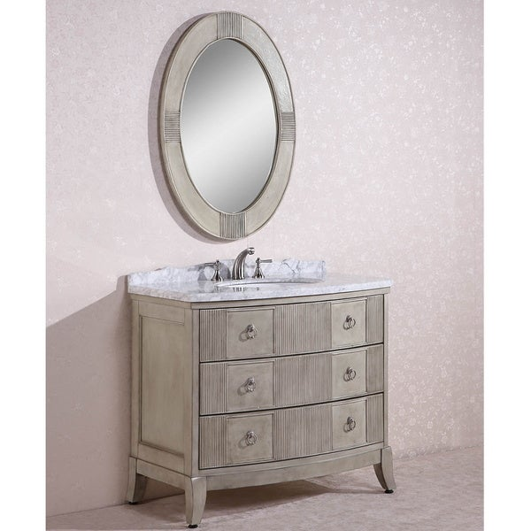 Carrara white marble top single sink bathroom vanity w oval mirror free shipping today Oval bathroom mirror cabinet