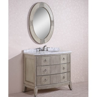 Carrara White Marble Top Single Sink Bathroom Vanity w/ Oval Mirror