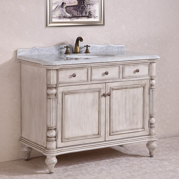 Carrara White Marble Top Single Sink Bathroom Vanity in Antique White - Carrara White Marble Top Single Sink Bathroom Vanity In Antique