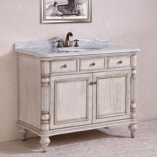 Carrara White Marble Top Single Sink Bathroom Vanity in Antique White|https://ak1.ostkcdn.com/images/products/9401041/P16589500.jpg?impolicy=medium