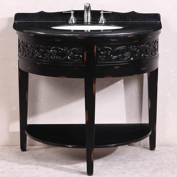 Absolute Black Granite Top Single Sink Bathroom Vanity in Antique Espresso - Shop Absolute Black Granite Top Single Sink Bathroom Vanity In