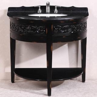 Absolute Black Granite Top Single Sink Bathroom Vanity in Antique Espresso