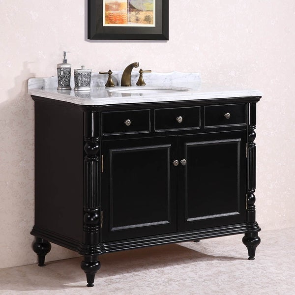 Carrara White Marble Top Single Sink Bathroom Vanity in Black - Free ...