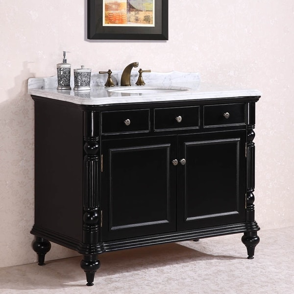 Carrara White Marble Top Single Sink Bathroom Vanity in ...